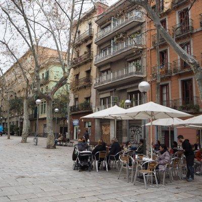 Terrace life at Plaza de la Virreina