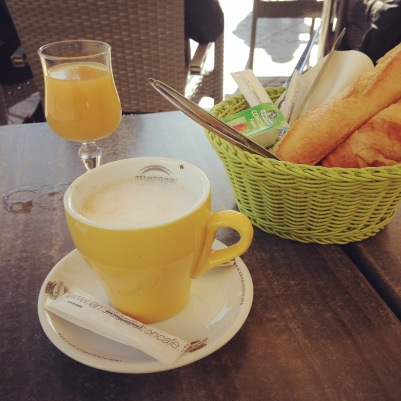 yellow breakfast on a terrace