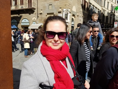 in front of Duomo - happy